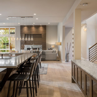Contemporary open concept kitchen ideas - Example of a trendy light wood floor and beige floor open concept kitchen design in Seattle with gray countertops