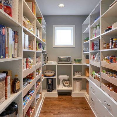 Kitchen pantry - large modern u-shaped medium tone wood floor kitchen pantry idea in Seattle with flat-panel cabinets, white cabinets, stainless steel appliances and no island