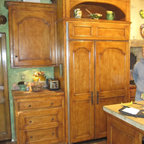 Wm Ohs Cabinets With White Refrigerator Hutch