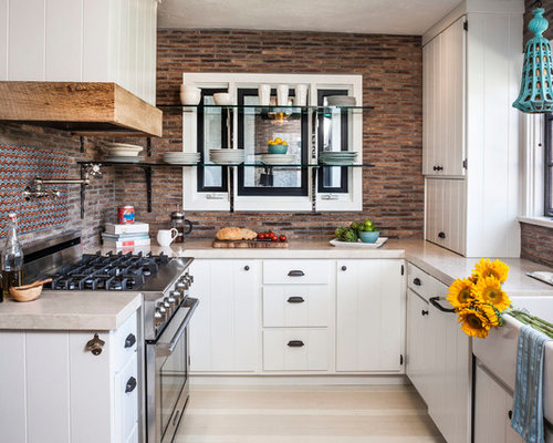 Eclectic U Shaped Enclosed Kitchen Idea In Orange County With Marble  Countertops, A Farmhouse