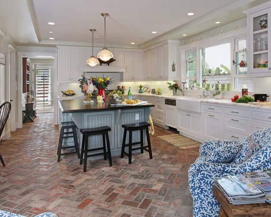 Kitchen Tiles Brick Style brick pattern tile floors | houzz