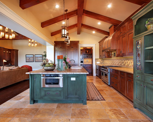 Green Kitchen Island Houzz