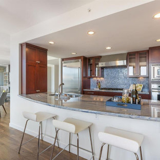 Mid-sized contemporary open concept kitchen inspiration - Open concept kitchen - mid-sized contemporary galley dark wood floor and brown floor open concept kitchen idea in San Francisco with shaker cabinets, dark wood cabinets, blue backsplash, a peninsula, a double-bowl sink and stainless steel appliances