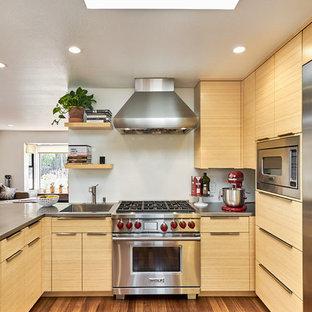 Contemporary Open Concept Kitchen Ideas   Open Concept Kitchen    Contemporary Medium Tone Wood Floor Open