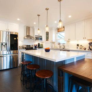 San Jose White Shaker Kitchen Remodel- semi custom cabinets, quartz counter tops