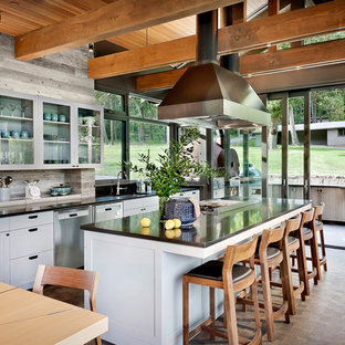 Large Rustic Eat In Kitchen Ideas   Large Mountain Style Galley Dark Wood  Floor And