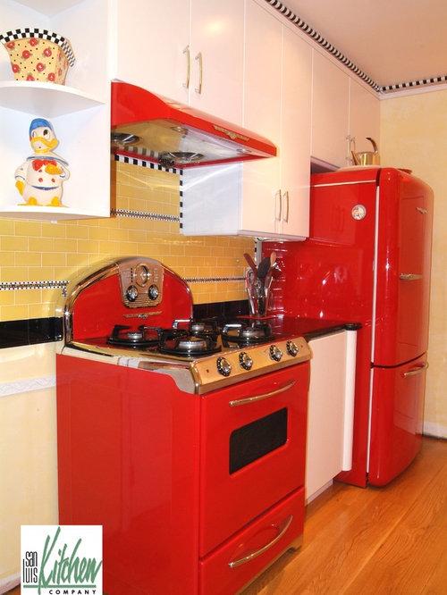 Kitchen Design Ideas Renovations Photos With Coloured Appliances And Yellow Splashback