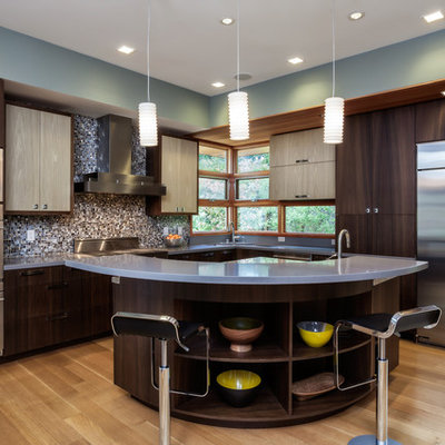 Inspiration for a contemporary l-shaped light wood floor kitchen remodel in San Francisco with flat-panel cabinets, dark wood cabinets, multicolored backsplash, mosaic tile backsplash, stainless steel appliances and an island