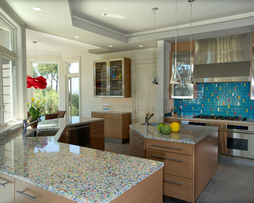 recycled glass countertops | houzz