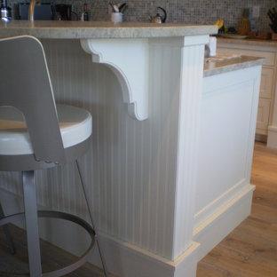 マイアミの中くらいのトロピカルスタイルのおしゃれなキッチン (ダブルシンク、インセット扉のキャビネット、白いキャビネット、珪岩カウンター、マルチカラーのキッチンパネル、モザイクタイルのキッチンパネル、シルバーの調理設備、淡色無垢フローリング) の写真