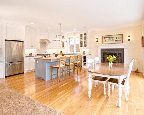 Mid Sized Elegant Galley Medium Tone Wood Floor Eat In Kitchen Photo In  Santa