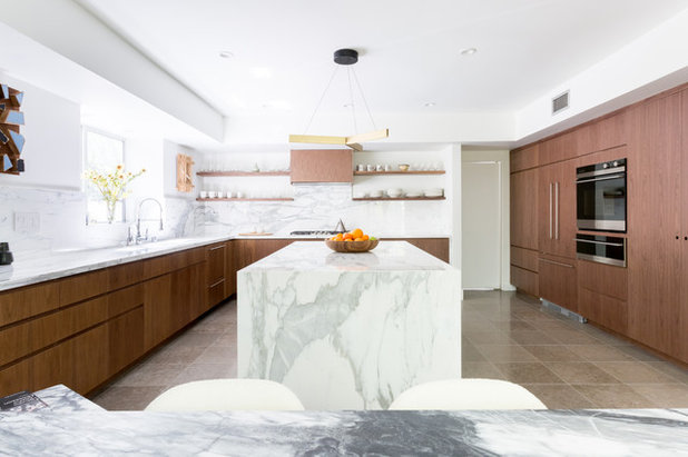 Walnut And Marble Combine In A Work Of Art Kitchen