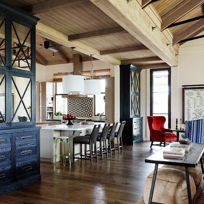Example of a transitional open concept kitchen design in San Francisco