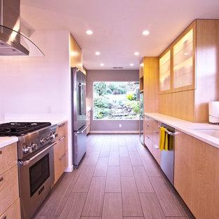 Geschlossene, Zweizeilige, Mittelgroße Moderne Küche ohne Insel mit Waschbecken, flächenbündigen Schrankfronten, hellen Holzschränken und Küchengeräten aus Edelstahl in San Francisco