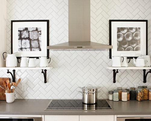 Herringbone Kitchen Backsplash Photos: Herringbone Subway Tile Backsplash Home Design Ideas