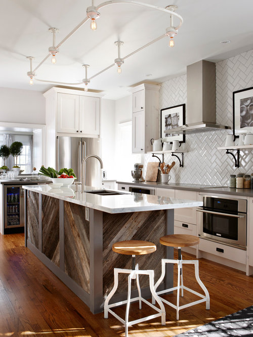 Elegant kitchen photo in Toronto with a double-bowl sink, shaker cabinets,  white