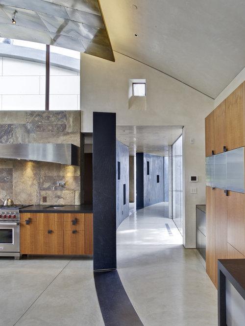 Grande cuisine avec une cr dence en ardoise photos et id es d co de cuisines - Credence en ardoise ...