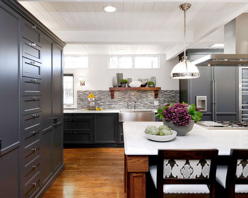 example of a transitional kitchen design in other with a farmhouse sink recessed panel - Charcoal Grey Kitchen Cabinets