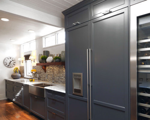 Marvelous Example Of A Transitional Kitchen Design In Other With A Farmhouse Sink,  Recessed Panel