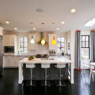 ワシントンD.C.の中サイズのトランジショナルスタイルのおしゃれなキッチン (シェーカースタイル扉のキャビネット、白いキッチンパネル、シルバーの調理設備の、白いキャビネット、亜鉛製カウンター) の写真
