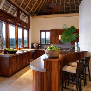 Tropical eat-in kitchen ideas - Island style eat-in kitchen photo in Other with an undermount sink, concrete countertops and an island