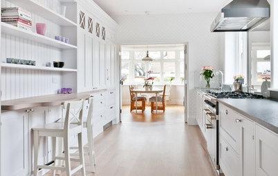 Veckans kök: Långsmalt kök med svenska detaljer i London