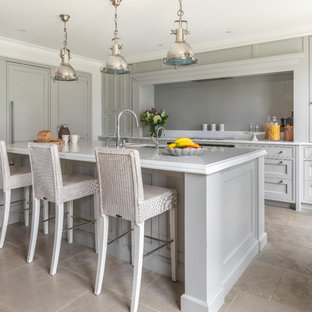 Photo Of A Medium Sized Scandinavian L Shaped Kitchen In Buckinghamshire With Shaker Cabinets