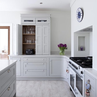 Transitional kitchen photo in Other with recessed-panel cabinets, gray cabinets and white appliances