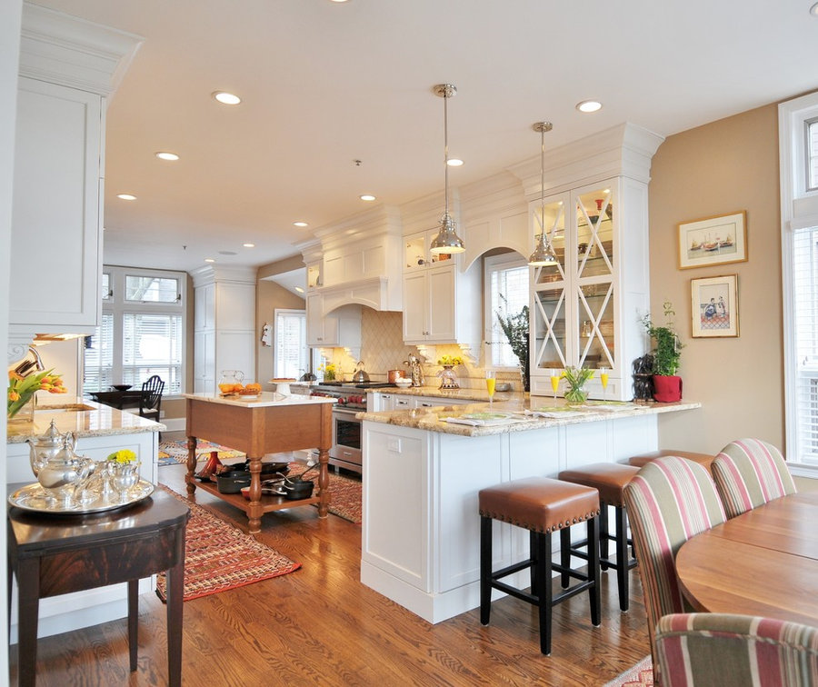 Scarsdale White Kitchen with Cherry Accents