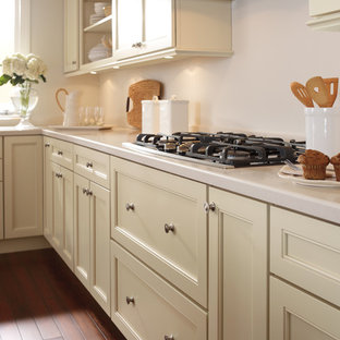 Merveilleux Example Of A Classic L Shaped Dark Wood Floor Enclosed Kitchen Design In  Boston With