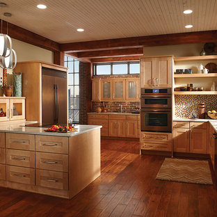 Mid-sized u-shaped open plan kitchen in Los Angeles with a peninsula, shaker cabinets, light wood cabinets, beige splashback, mosaic tile splashback, white appliances, an undermount sink, medium hardwood floors and recycled glass benchtops.