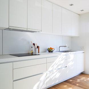 Ejemplo de cocina lineal, minimalista, sin isla, con armarios con paneles lisos, puertas de armario blancas y suelo de madera en tonos medios