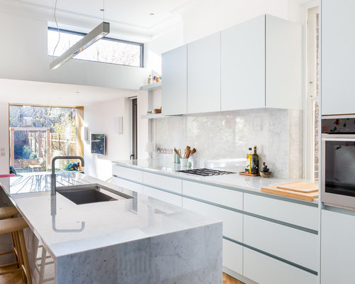 This Is An Example Of A Contemporary Single Wall Kitchen In London With  Flat