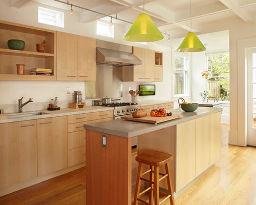 inspiration for a modern kitchen remodel in san francisco with flat panel cabinets light - Kitchen With Light Wood Cabinets