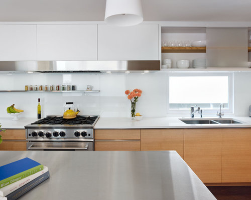 White Glass Backsplash Houzz