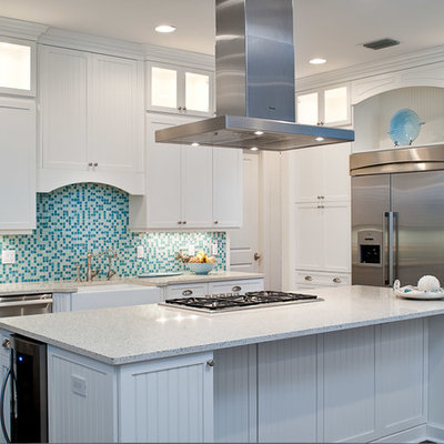Kitchen - tropical kitchen idea in Miami with a farmhouse sink, shaker cabinets, white cabinets, blue backsplash, mosaic tile backsplash and stainless steel appliances