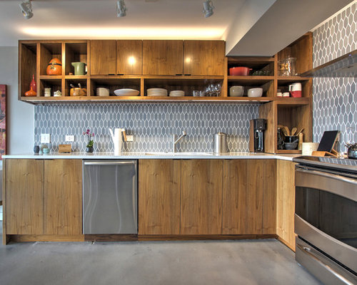 Small Contemporary Kitchen Inspiration   Inspiration For A Small  Contemporary L Shaped Concrete Floor Kitchen
