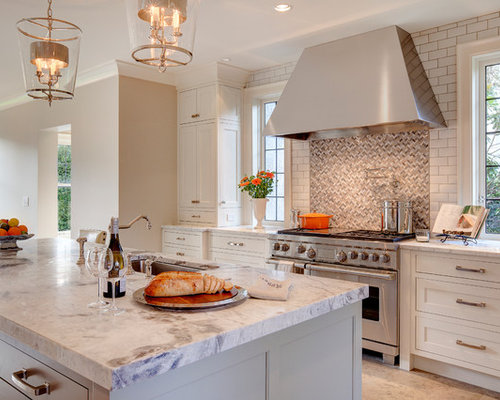 Large Transitional U Shaped Porcelain Floor And Beige Floor Eat In Kitchen  Photo In