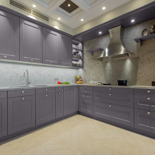 Design ideas for a large eclectic l-shaped open plan kitchen in Other with a double-bowl sink, louvered cabinets, purple cabinets, quartz benchtops, beige splashback, stone slab splashback, coloured appliances, ceramic floors, a peninsula, beige floor and beige benchtop.