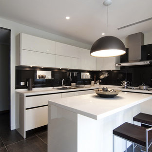 Trendy L Shaped Kitchen Photo In Other With An Undermount Sink, Flat Panel