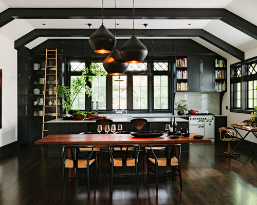 Example Of A Classic Dark Wood Floor Open Concept Kitchen Design In  Portland With Shaker Cabinets
