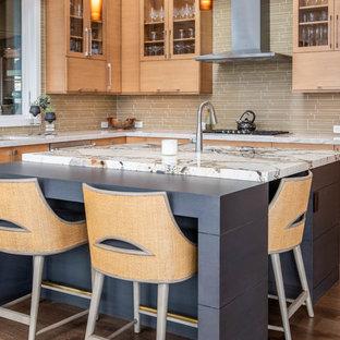 他の地域の大きいミッドセンチュリースタイルのおしゃれなキッチン (アンダーカウンターシンク、フラットパネル扉のキャビネット、淡色木目調キャビネット、シルバーの調理設備の、濃色無垢フローリング、茶色い床、ベージュのキッチンカウンター) の写真