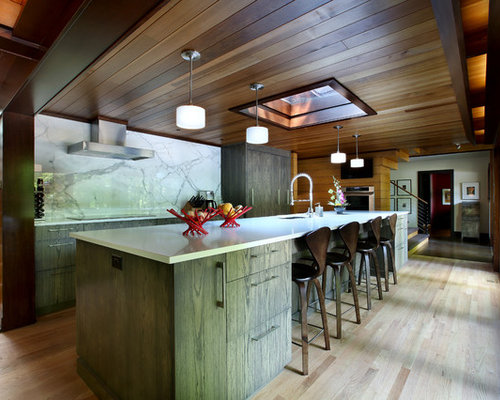Mountain Style L Shaped Kitchen Photo In Grand Rapids With An Undermount Sink Flat