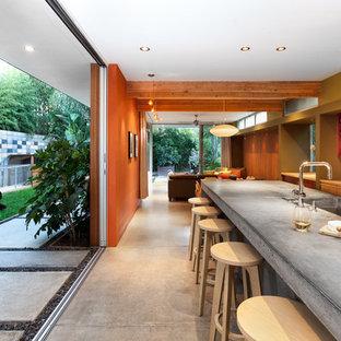 サクラメントの中サイズのコンテンポラリースタイルのおしゃれなキッチン (シングルシンク、コンクリートカウンター) の写真