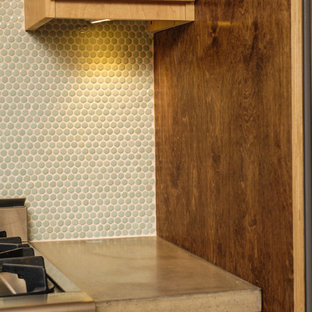 Design ideas for a modern l-shaped kitchen in Philadelphia with an undermount sink, brown cabinets, concrete benchtops, mosaic tile splashback and stainless steel appliances.