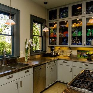 Moderne Küche mit flächenbündigen Schrankfronten, Küchengeräten aus Edelstahl, Edelstahl-Arbeitsplatte und integriertem Waschbecken in Sonstige
