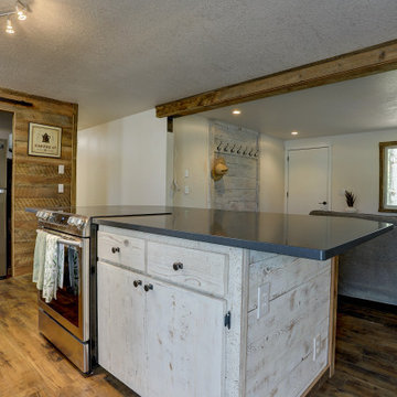 Shabby Chic Craftsman Kitchen with White Washed Barn Wood