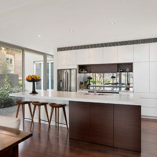 Contemporary kitchen photos - Example of a trendy dark wood floor kitchen design in Sydney with a double-bowl sink, white cabinets, glass sheet backsplash, stainless steel appliances and an island
