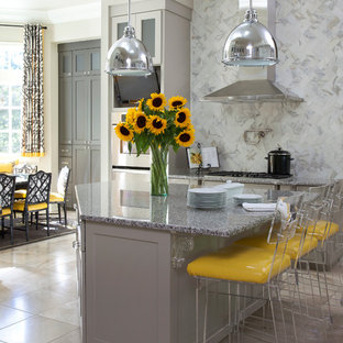 Large transitional eat-in kitchen photo in Little Rock with shaker cabinets, gray cabinets, multicolored backsplash, stainless steel appliances, an island, quartz countertops and subway tile backsplash