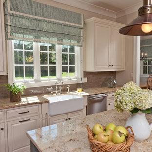 Elegant kitchen photo in Other with matchstick tile backsplash, a farmhouse sink, granite countertops and brown backsplash